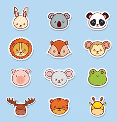 cute animals icon set over blue background colorful design vector illustration