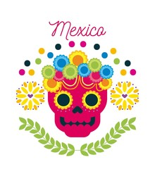 mexico day of the dead skull with floral ornament vector illustration