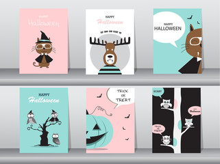 Set of Halloween invitations cards, poster, greeting, template, animals, Vector illustrations