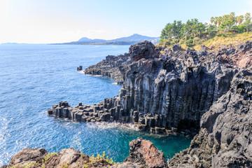 The Daepo Jusangjeolli basalt columnar joints and cliffs on Jeju Island