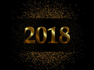 Vector 2018 New Year Black background with gold glitter confetti texture.