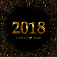 2018 Happy New Year Background texture with glitter fireworks