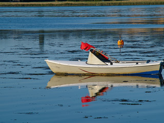 Traditional classic small fishing boat Denmark