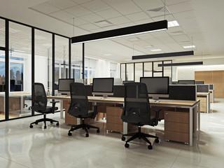 Интерьер офиса openspace ночной вид