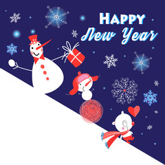 Christmas greeting card with funny snowmen