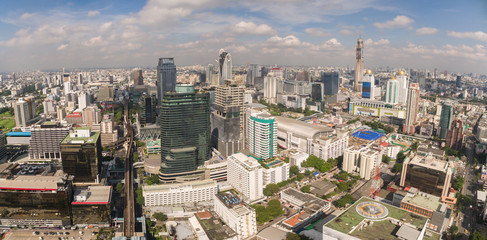 Central Shopping Area And City Skyline, Bangkok, Thailand, Aerial Drone Panorama