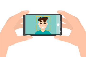 Hand holding smartphone and taking photo, selfie. Vector illustration.