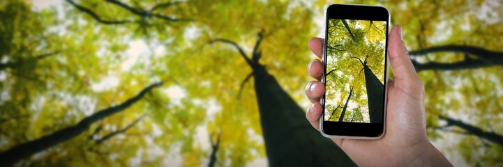 Composite image of cropped image of hand holding smart phone