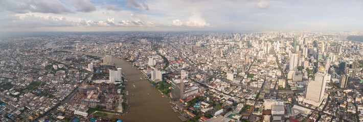 Chao Phraya River And Bangkok Cityscape, Wide Aerial Panorama