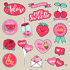 Set of girl fashion patches, cute cartoon badges, fun stickers design vector in romantic love concept