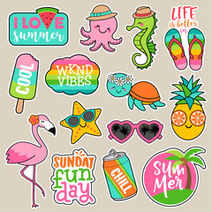 Set of girl fashion patches, colorful cute cartoon badges, fun stickers design vector