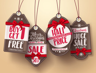 Christmas sale tags vector set with red ribbon and different greeting, sale and discount text for christmas holiday shopping promotions. Vector illustration.
