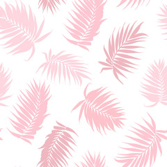 Pink camouflage jungle rainforest palm tree leaves isolated on white background. Exotic tropical seamless pattern texture. Feather fan shaped branch. Vector design illustration.