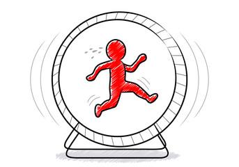 Stress: Ein rotes Männchen im Hamsterrad / Vektor, freigestellt