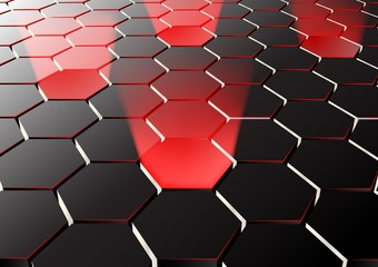 Perspective hexagonal background with red lights
