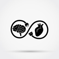 Connection between heart and mind. Vector illustration.