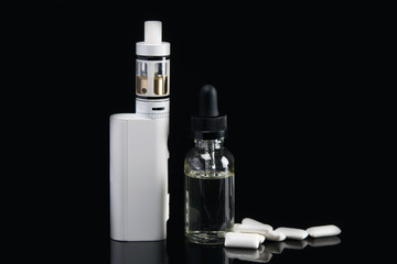 electronic cigarette with dressing for her, flavor of chewing gum on a black background, with a hatching