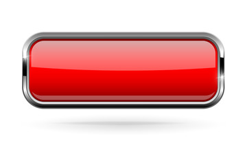 Red rectangle button with bold chrome frame. 3d shiny icon