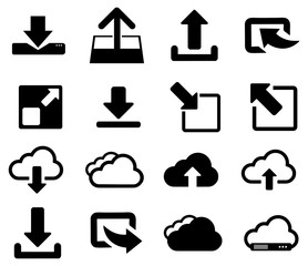 Wall Mural - Black cloud download vector icon pack