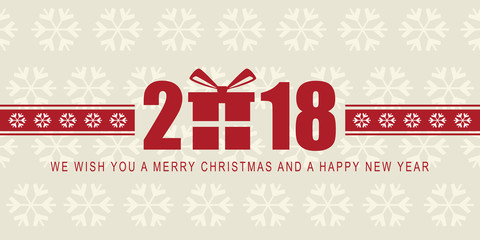 Happy New Year 2018 and Christmas, web banner. Vector illustration. Flat design.