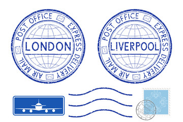 Blue postal elements. London and Liverpool postmark and stamps
