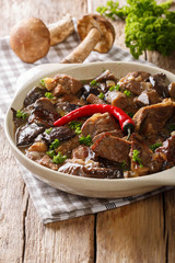 beef stew with wild mushrooms, onion and chili pepper close up in a bowl. vertical
