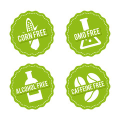 Wall Mural - Set of Allergen free Badges. Corn free, GMO free, Alcohol free, Caffeine free. Vector hand drawn Signs. Can be used for packaging Design.