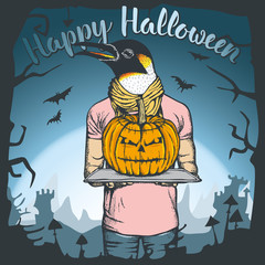 Vector illustration of Halloween penguin concept