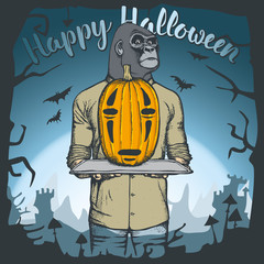 Vector illustration of Halloween monkey concept