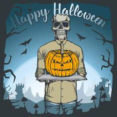 Vector illustration of Halloween skull concept