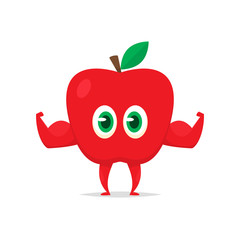 Cartoon apple with muscle arms