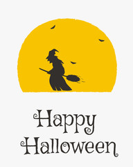 Happy Halloween card design, a witch flying on broomstick silhouette cartoon vector