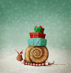 Holiday greeting card with  Snail and gifts for Christmas or New Year