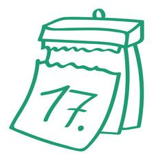 Handgezeichneter Kalender - Tag 17 in grün