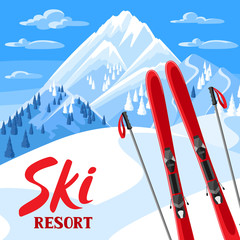 Winter landscape with skiing equipment. Snowy mountains and fir forest