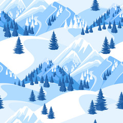 Winter seamless pattern. Beautiful landscape with snowy mountains and fir forest