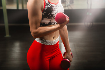 Woman doing warm up with dumbbells before cross fit training at gym. Woman muscles close up