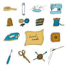Sewing accessories in doodle style. Vector illustration