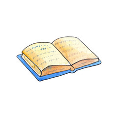Opened book by watercolor on white background. Old book in blue cover handdrawn illustration.