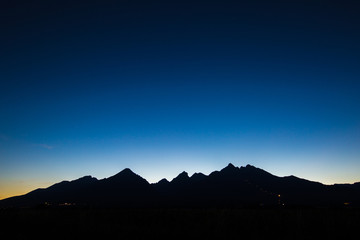 silhouette of central high tatras in slovakia