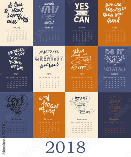 Calendar 2018 With Motivational Quote Stock Image And Royalty Free
