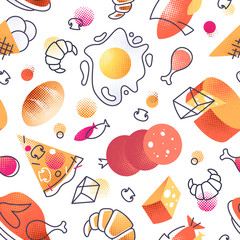 Seamless pattern with gastronomy food icons, vector cuisine bright background for menu, receipts.