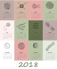 Calendar 2018 - poster with yarn in hand drawn style