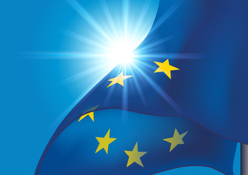 Drapeau européen - Europe - drapeau flottant - UE - Union Européenne - union - politique