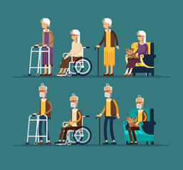 Set of elderly persons. Grandfathers and granfathers in a wheelchair and with walking stick and paddle walker. Vector illustration in a flat style