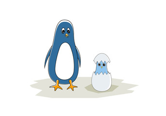 Penguin with his chick hatched from the egg