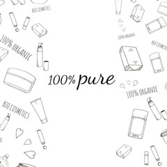 Organic cosmetics banner in doodle style