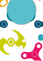 Web banner with spinner toy in simple style. Vector illustration