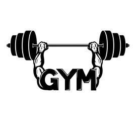 Gym sign with barbell.