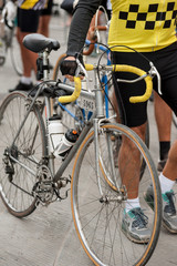 Cyclist with his vintage bicycle, before the race